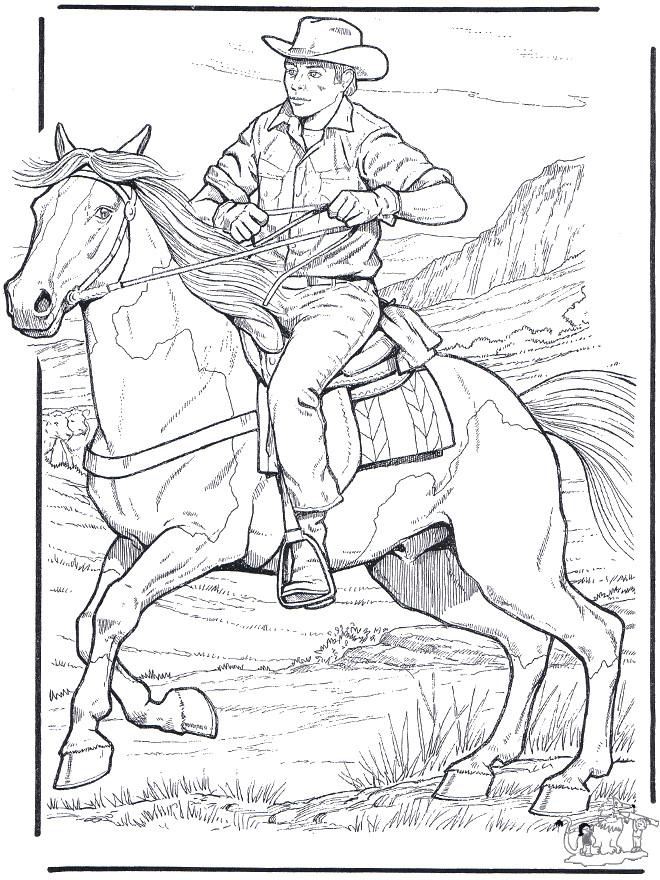 Coloriage Cowboy Sur Son Cheval Dessin Gratuit à Imprimer