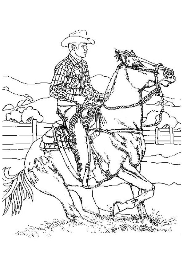 Coloriage Cowboy Western Dessin Gratuit A Imprimer