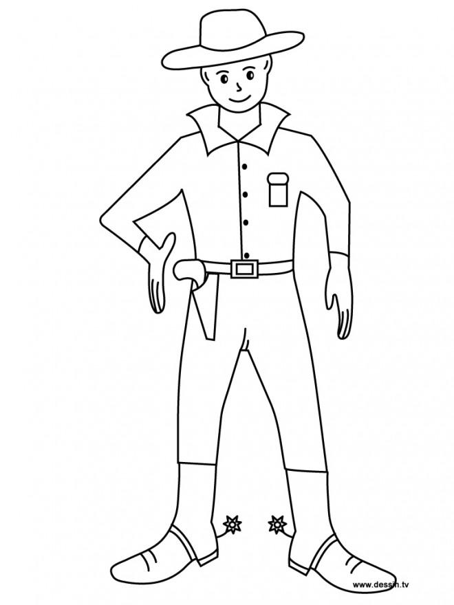 Coloriage et dessins gratuits Cowboy western en ligne à imprimer