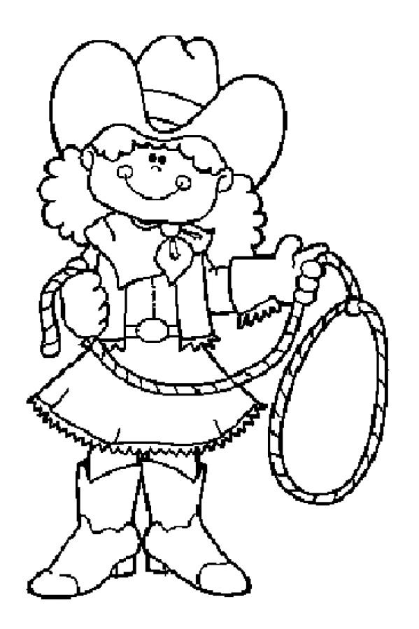 Coloriage Cowgirl mignonne dessin gratuit à imprimer