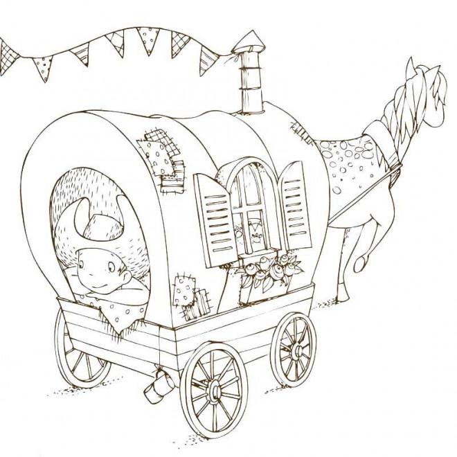 Coloriage et dessins gratuits Petit Cowboy et sa petite maison à imprimer