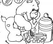 Coloriage et dessins gratuit Bisounours cuisine à imprimer
