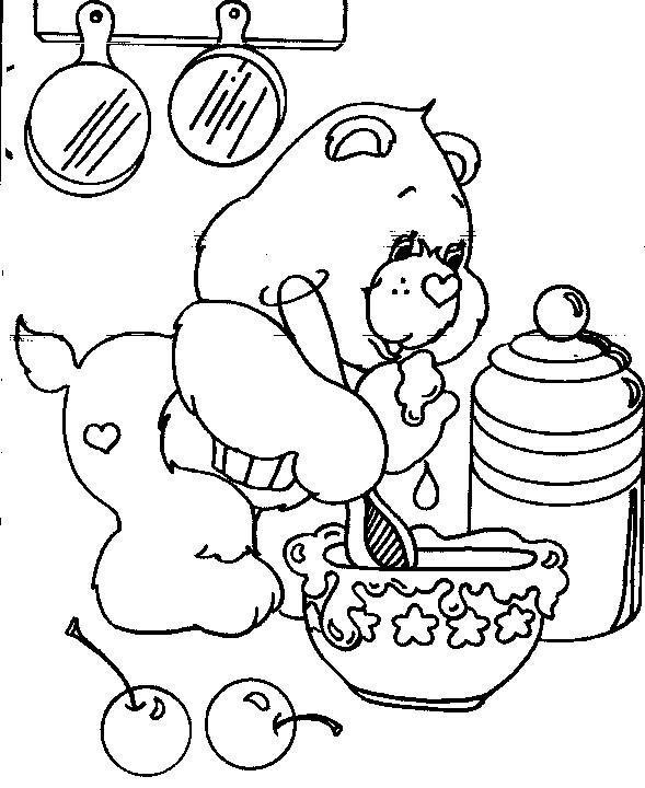 Coloriage et dessins gratuits Bisounours cuisine à imprimer