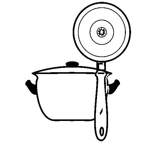 Coloriage et dessins gratuits Casserole de cuisine à imprimer