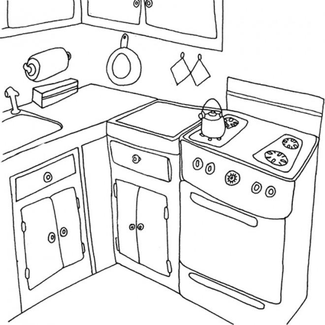 Coloriage et dessins gratuits Cuisine de la maison à imprimer