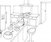 Coloriage et dessins gratuit Cuisine en perspective à imprimer