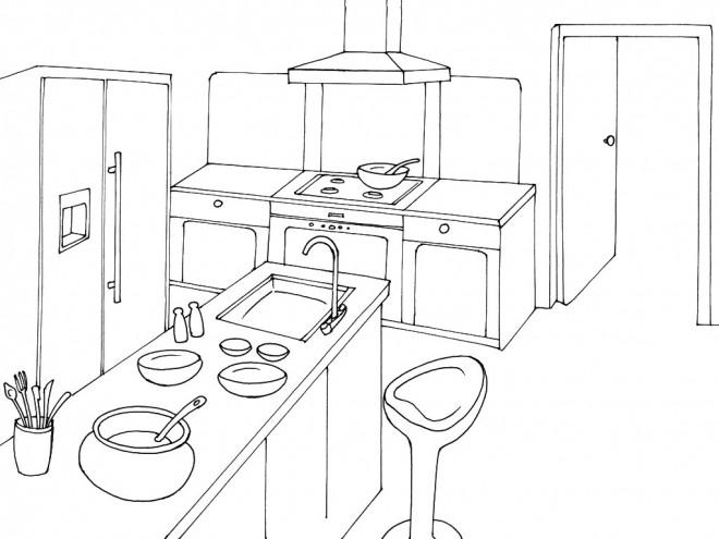 Coloriage cuisine en perspective dessin gratuit imprimer - Dessin cuisine 3d ...