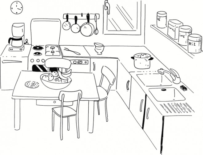 Coloriage cuisine maternelle dessin gratuit imprimer for Plans de cuisine et dessins