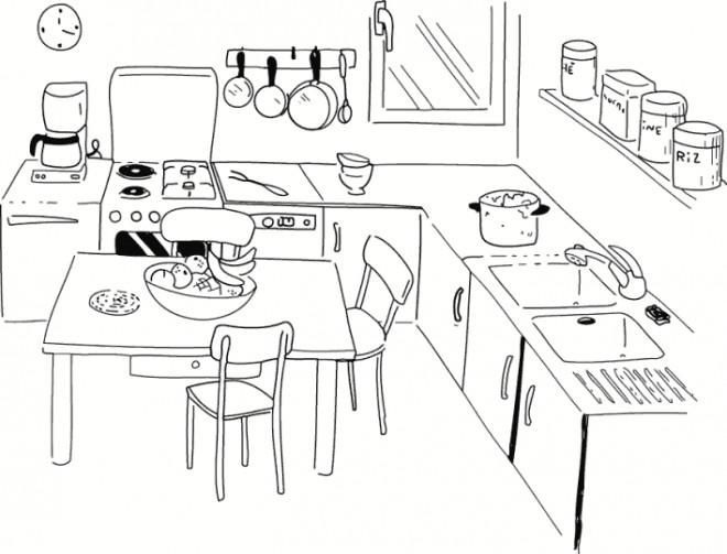 coloriage cuisine maternelle dessin gratuit imprimer. Black Bedroom Furniture Sets. Home Design Ideas