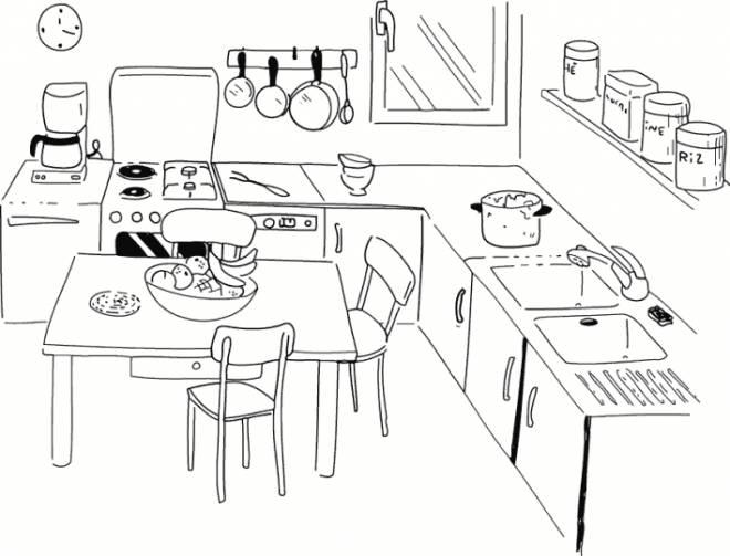 Coloriage et dessins gratuits Cuisine maternelle simple à imprimer