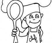 Coloriage dessin  Cuisinier 3
