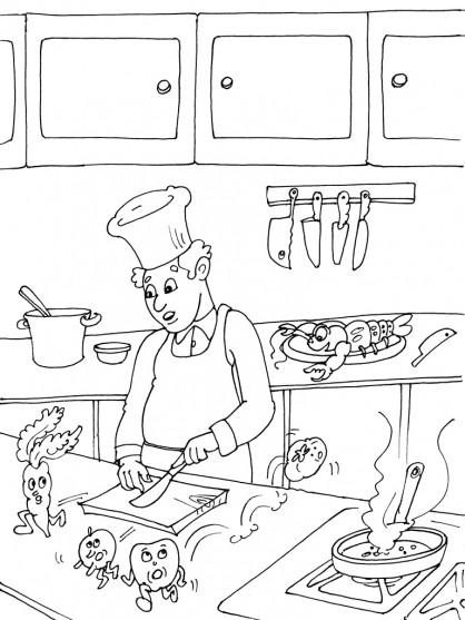 Coloriage cuisinier et aliments dessin gratuit imprimer - Dessin cuisinier humoristique ...