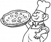 Coloriage et dessins gratuit Cuisinier et pizza à imprimer