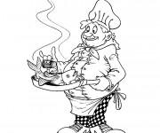 Coloriage et dessins gratuit Cuisinier et poisson à imprimer
