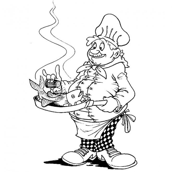 Coloriage cuisinier et poisson dessin gratuit imprimer - Coloriage cuisinier ...