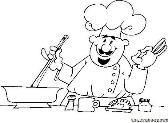 coloriage cuisinier gratuit imprimer - Dessin Cuisinier