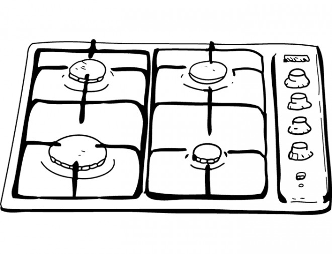 Coloriage dessin de gaz de cuisine dessin gratuit imprimer for Dessin cuisine