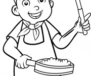 Coloriage Enfant cuisinier