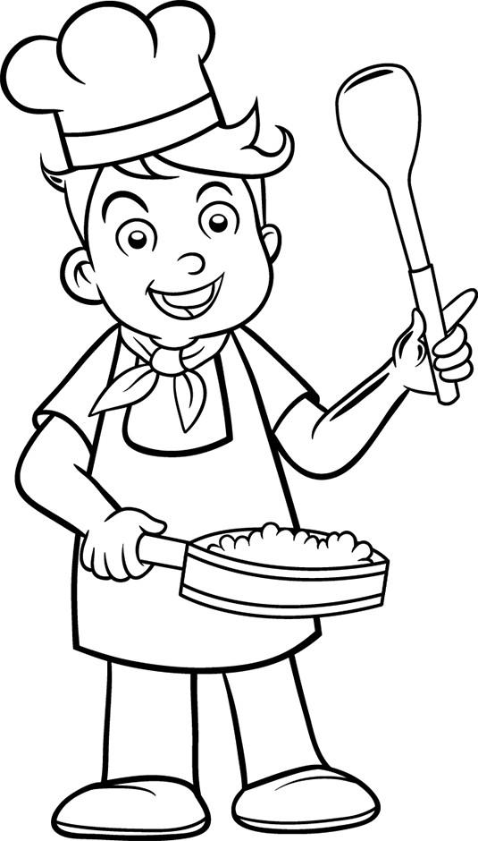 Coloriage et dessins gratuits Enfant cuisinier à imprimer