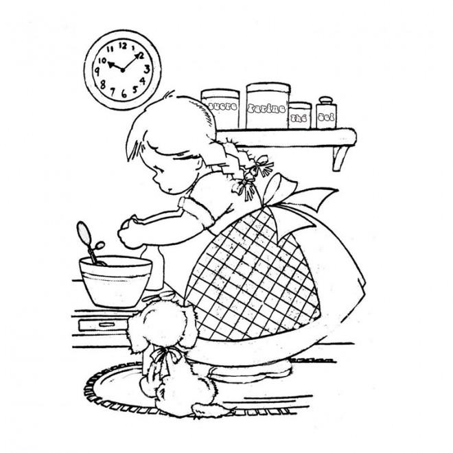 Coloriage et dessins gratuits Fille cuisinière à imprimer