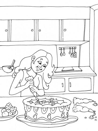 Coloriage et dessins gratuits Fille prépare un gâteau à imprimer