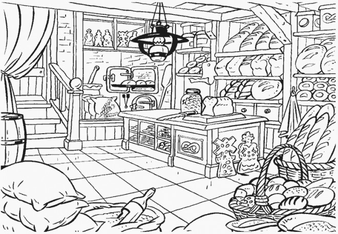 Coloriage et dessins gratuits la Boulangerie à imprimer