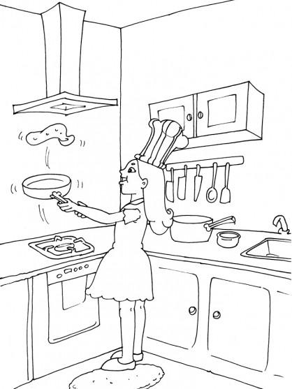 Coloriage et dessins gratuits la fille prépare des omelettes à imprimer