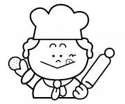 Coloriage et dessins gratuit Le petit boulanger et le biscuit à imprimer