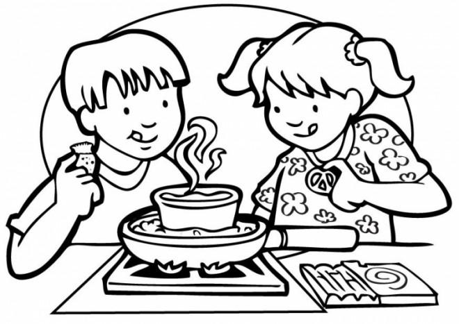Coloriage et dessins gratuits Les enfants préparent le dîner à imprimer