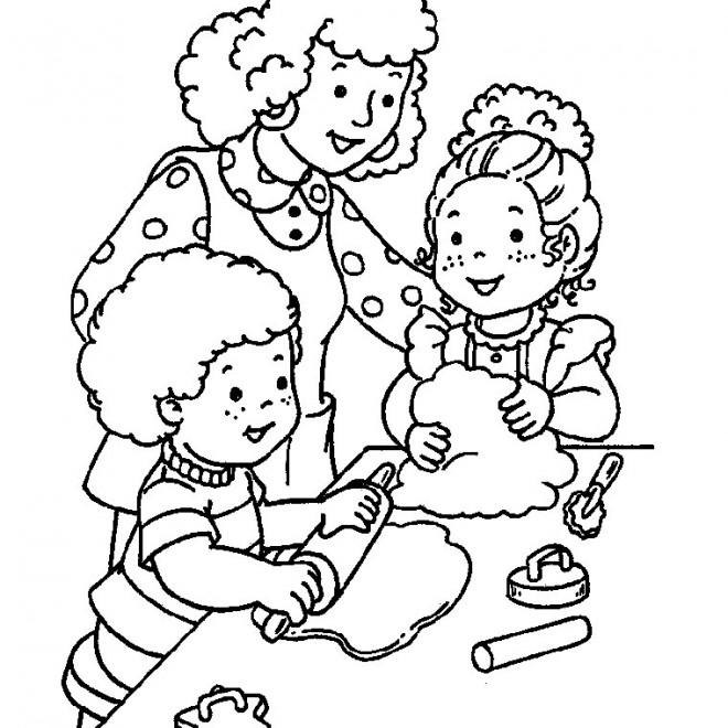 Coloriage maman et ses enfants pr parent la tarte - Dessin cuisinier humoristique ...