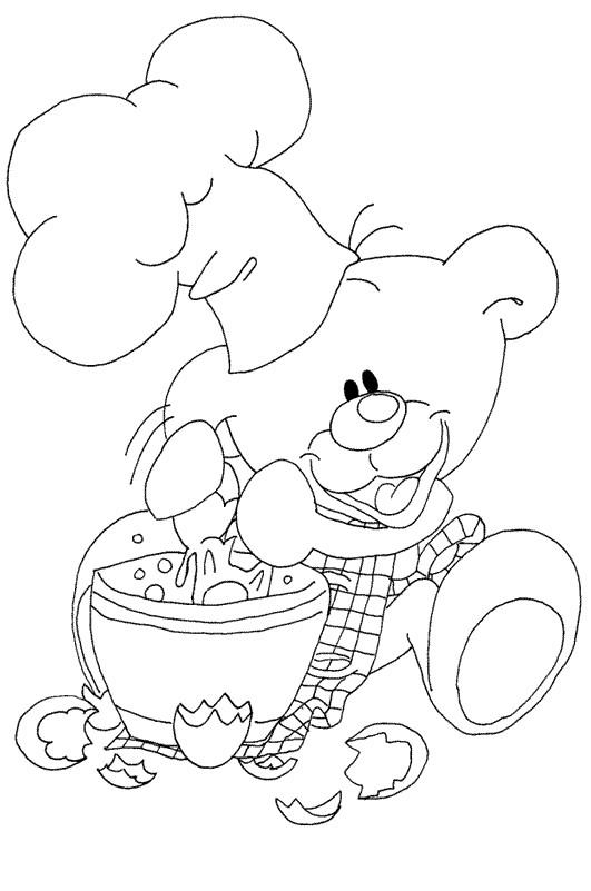 Coloriage ours cuisinier dessin gratuit imprimer - Coloriage cuisinier ...