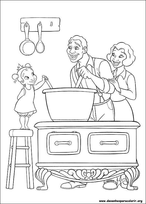 Coloriage et dessins gratuits Parents et leur fille dans la cuisine à imprimer