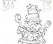 Coloriage petit ours cuisinier humoristique dessin gratuit for Cuisinier humoristique