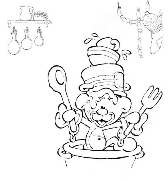 Coloriage et dessins gratuits Petit ours cuisinier humoristique à imprimer