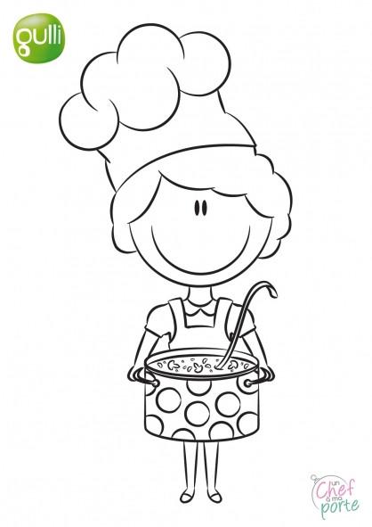 Coloriage et dessins gratuits Petite Cuisinière tout en souriant à imprimer