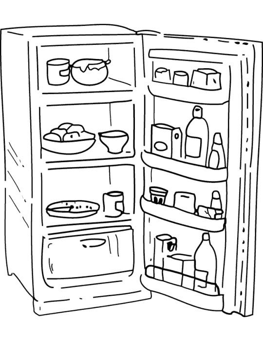 Coloriage et dessins gratuits Réfrigérateur ouvert à imprimer
