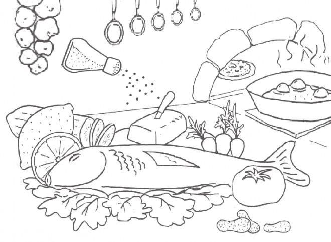 Coloriage et dessins gratuits Repas du chef cuisinier à imprimer