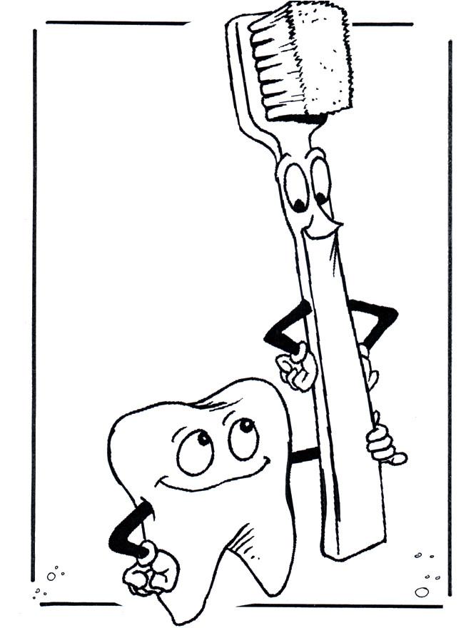 Coloriage et dessins gratuits Brosse à dent souriante à imprimer