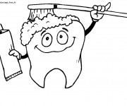 Coloriage et dessins gratuit Dent se brosse  drôle à imprimer