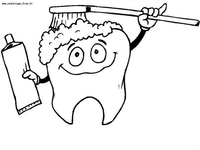 Coloriage et dessins gratuits Dent se brosse  drôle à imprimer