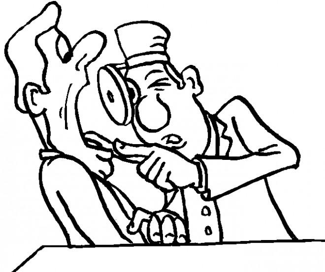 Coloriage et dessins gratuits Dentiste dessin humoristique à imprimer