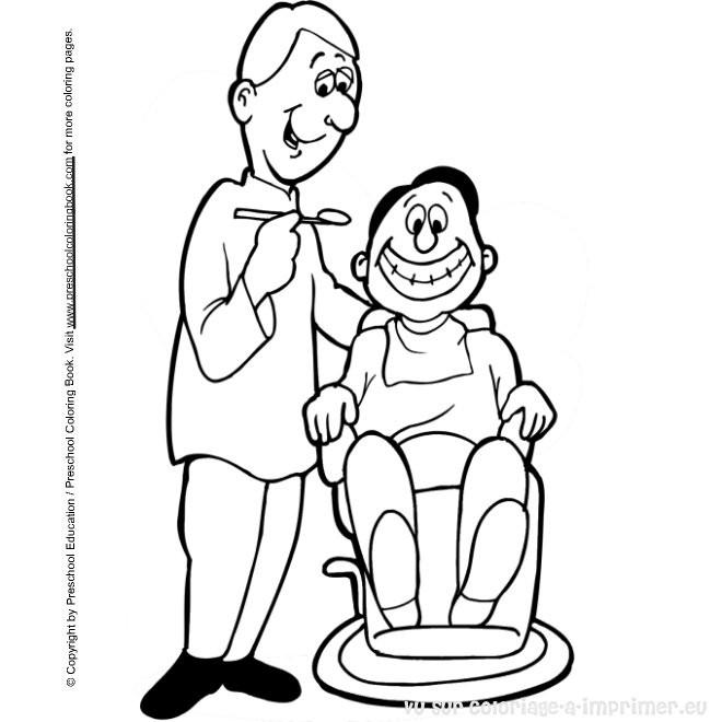 Coloriage et dessins gratuits Dentiste et patient à imprimer