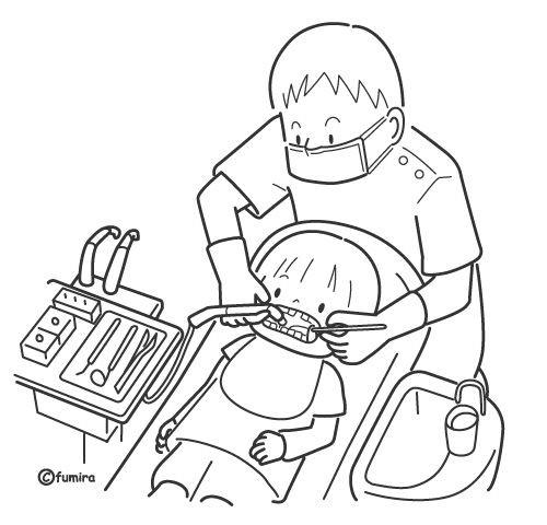 Coloriage et dessins gratuits Dentiste nettoie les dents d'enfant à imprimer