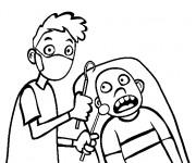 Coloriage et dessins gratuit Enfant effrayé de dentiste à imprimer