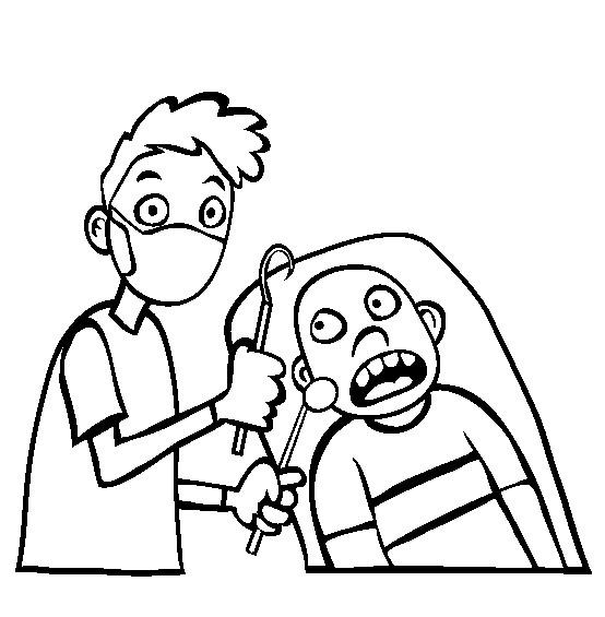 Coloriage et dessins gratuits Enfant effrayé de dentiste à imprimer