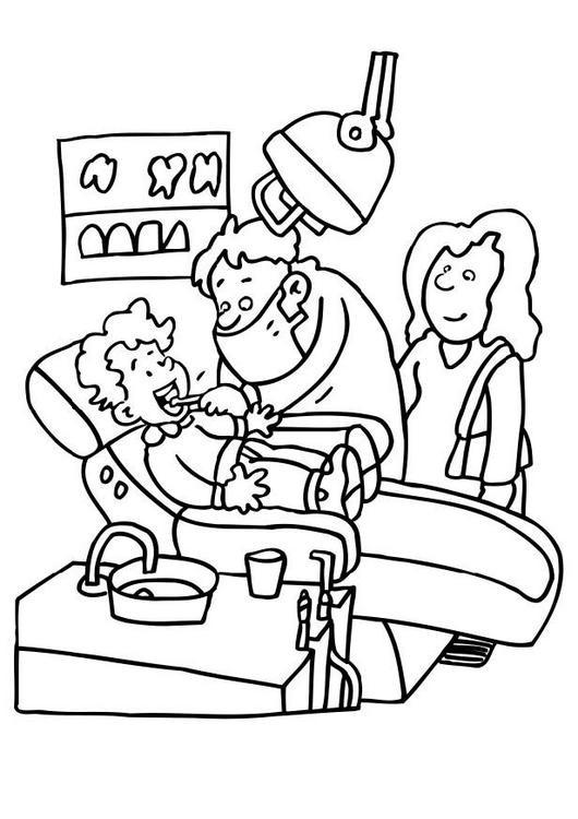 Coloriage et dessins gratuits Maman et son enfant chez le dentiste à imprimer