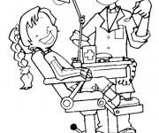 Coloriage Une fille chez le dentiste