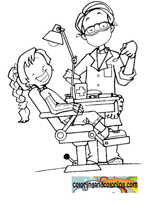 Coloriage et dessins gratuits Une fille chez le dentiste à imprimer