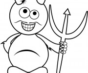 Coloriage et dessins gratuit Diable avec moustache pour enfant à imprimer