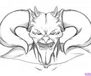 Coloriage et dessins gratuit Diable avec ses cornes à imprimer